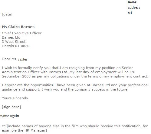 professional resignation sample