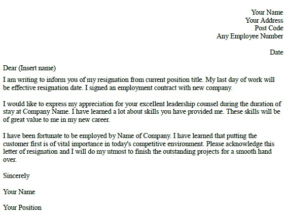 Resignation Letter Example - Learnist.org