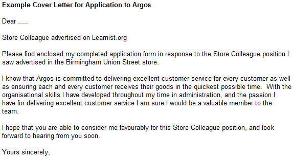 Example Cover Letter for Application to Argos - forums.learnist.org