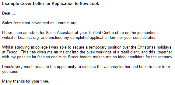example cover letter for application to new look forums learnist org