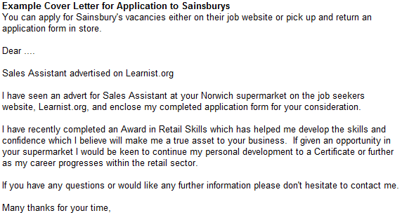 Example Cover Letter for Application to Sainsburys forums – Sample Cover Letter Sales Assistant