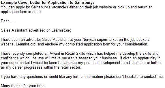 sainsburys application letter