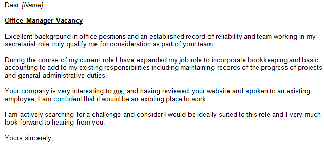 Office Manager Cover Letter Example Learnist Org