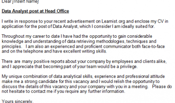 cover letter data analyst - Ex