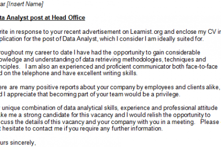Data Analyst Cover Letter.