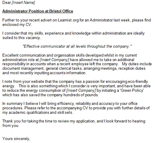 administrator covering letter example