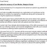 care worker cover letter example
