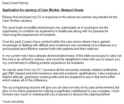Care Worker Cover Letter Exampe - Learnist.org