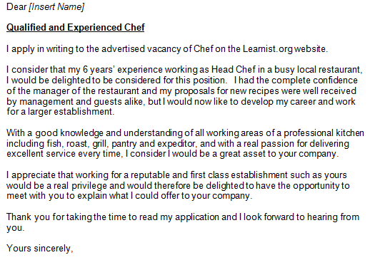 Cover Letter Example For Chefs