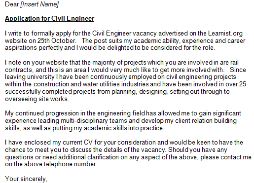 Civil Engineer Cover Letter Example  Cover Letter Engineering