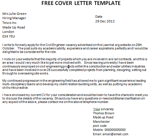 Free sample of a cover letter for job application