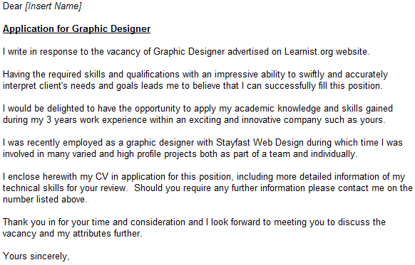 Graphic Designer Cover Letter Example Learnist Org