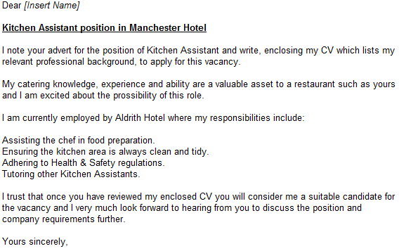 kitchen assistant cv