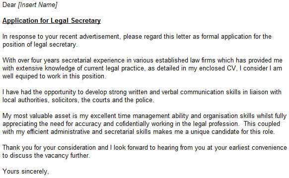 Legal secretary (entry-level) sample cover letter