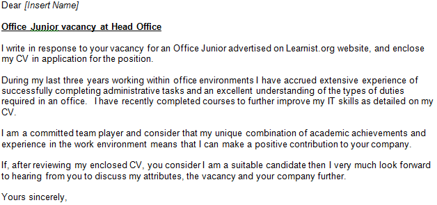 office junior cover letter example
