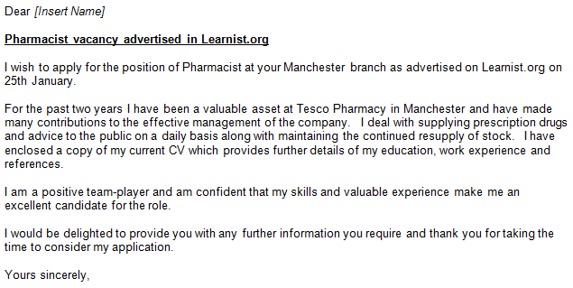 yours sincerely - Pharmacist Cover Letter Example