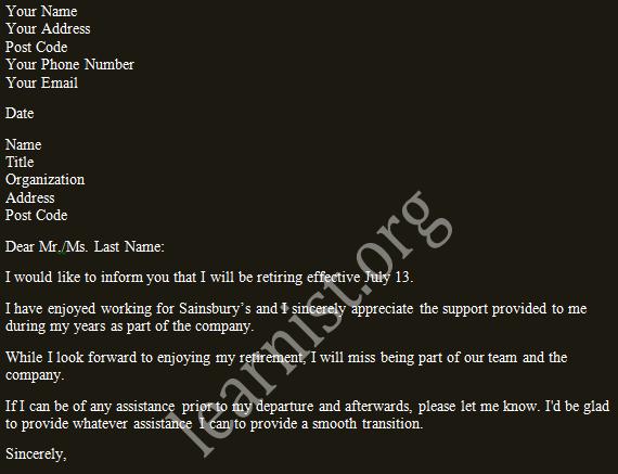 retirement - retiring resignation letter example