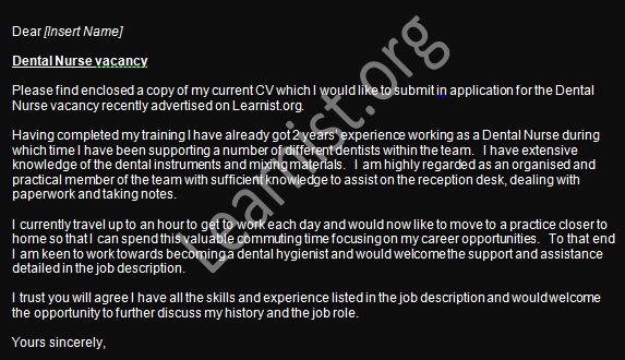 dental nurse job application cover letter example