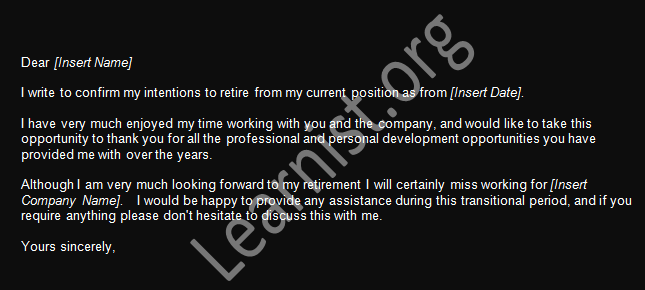 Retirement Resignation Letter Example - forums.learnist.org