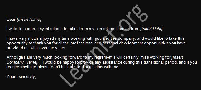 retirement resignation example uk