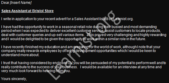 Sales Assistant Job Application Cover Letter Example - Learnist.org