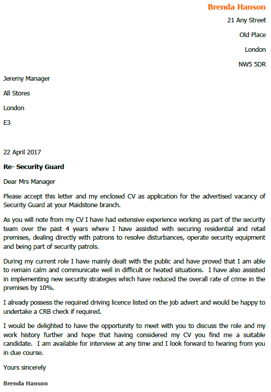 Security Guard Job Application Cover Letter Example  Job Application Cover Letters