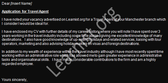 travel-agent-job-application-cover-letter-example Cover Letter For Cook Job Application on south africa, no experience, practice management, real or potential,