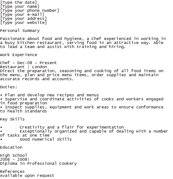 chef cv example template