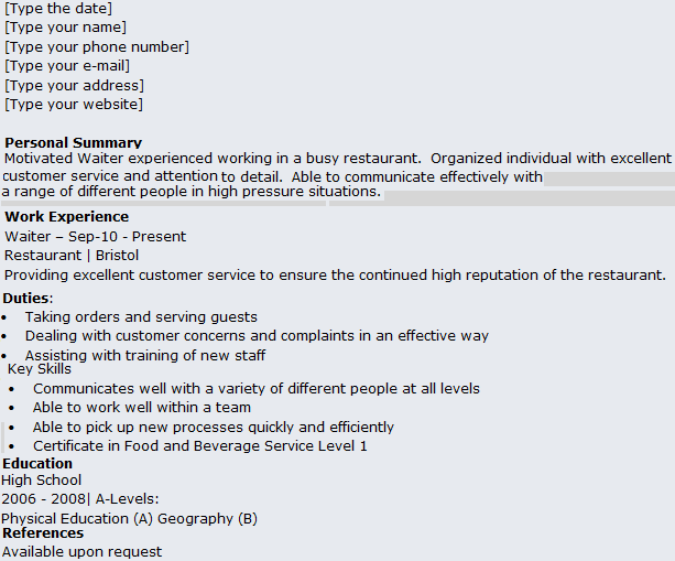 waitress cv waitress resume samples resume sample evmoj waitress ...