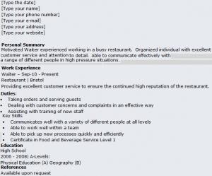 index of  wp content uploads      waiter waitress cv exampl