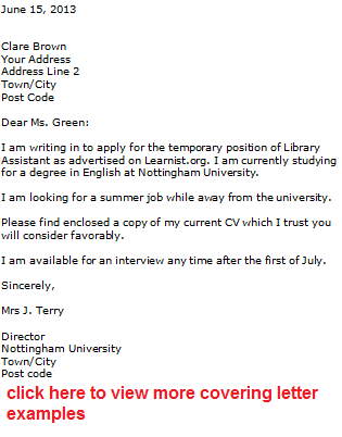 Attractive Temporary Cover Letter Sample