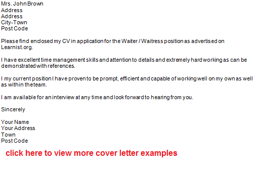 Best Cover Letter For A Waitress Position Mba Essay Writing