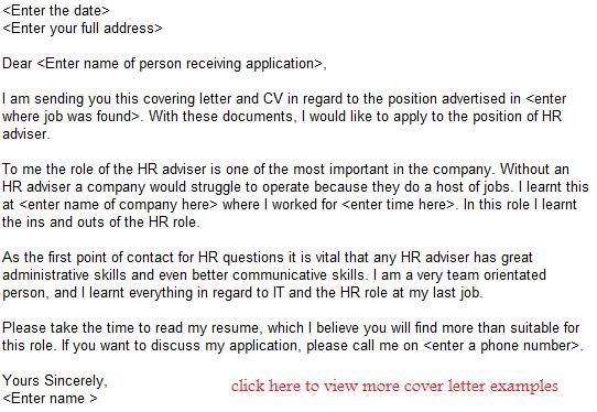 HR Adviser job application letter