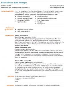Bank manager cv example learnist bank manager cv example yelopaper Image collections