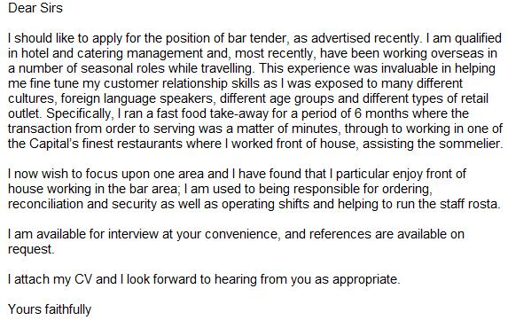 Bar Attendant Cover Letter Sample