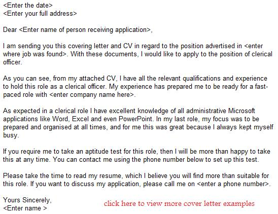clerical officer job application letter examples. Resume Example. Resume CV Cover Letter