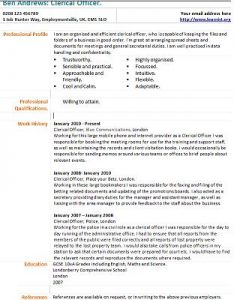 Clerical Officer Cv Template Forums Learnist Org