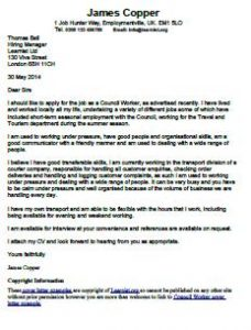 Sample cover letter for city council job