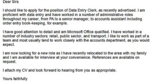 Data Entry Clerk Cover Letter Example  Data Entry Cover Letter