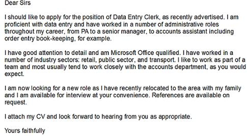 sample cover letter for data entry clerk position.html