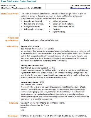 Data Analyst Cv Example Learnist Org
