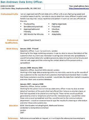free resume samples of data entry