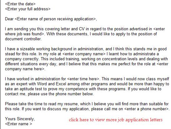 Document Controller Job Application Letter