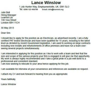 Electrician cover letter example for How to write a cover letter for electrician apprenticeship