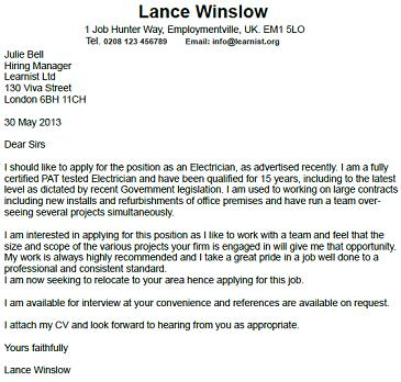 electrician cover letter example
