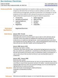 Electrician CV Example - Learnist.org