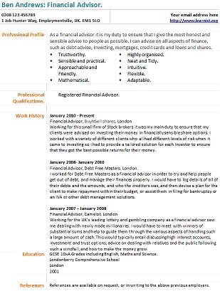 financial advisor cv example