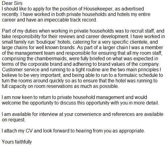 cover letter for hotel housekeeping manager