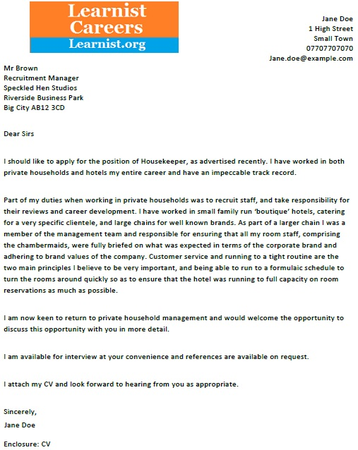 Housekeeper Cover Letter Example - Learnist org