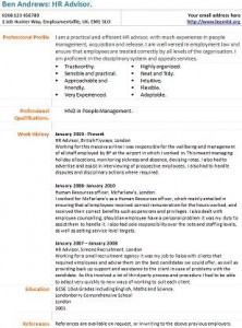 hr advisor cv example
